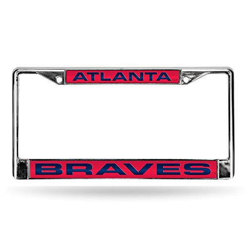 Atlanta Braves Red MLB Chrome Metal Laser Cut License Plate Frame