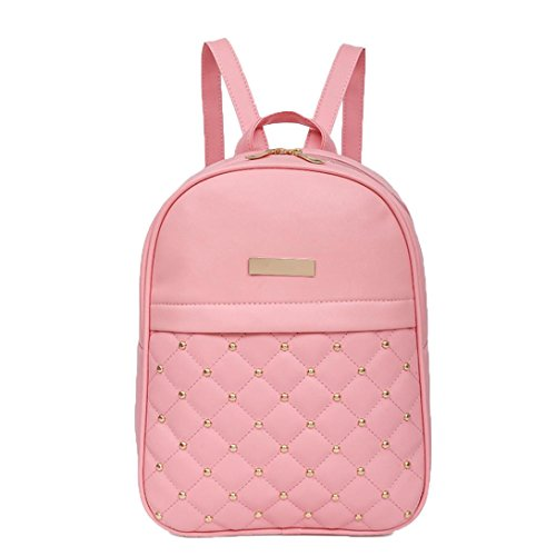 Women Fashion Rivet Bead Backpack Square Zipper Bag (Pink) by Napoo-Bag