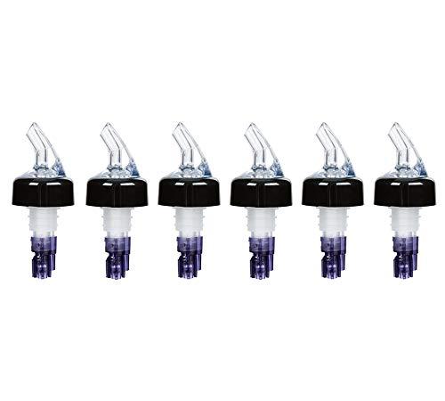 ((Pack of 6) Measured Liquor Bottle Pourers, 1.125 oz, Clear Spout Bottle Pourer with Purple Tail and Black Collar, Measured Pour Spouts byTezzorio)