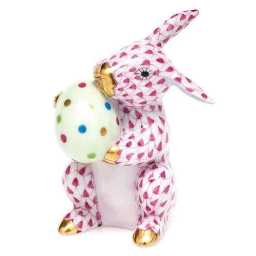 Herend Easter Bunny Rabbit Porcelain Figurine Raspberry Fishnet