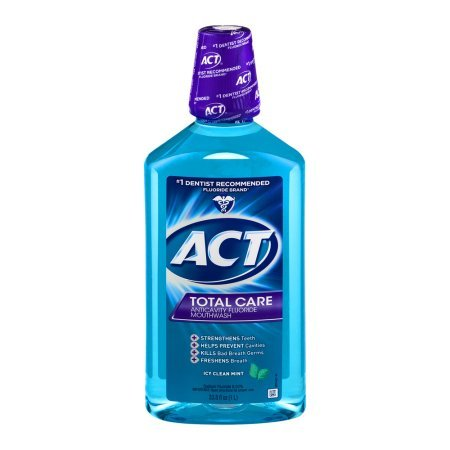 PACK OF 6 - ACT Total Care Icy Clean Mint Anticavity Fluoride Mouthwash, 33.8 oz