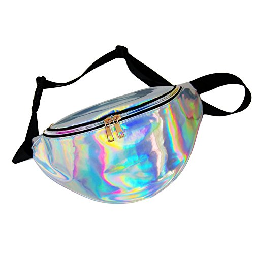 Mounchain Waist Packs by Women's Shiny Laser Holographic Waist Fanny Packs with Adjustable Waistband-Smartphone Money Coins Keys Passport Holder Silver (Belt Coin Buckle Cut)