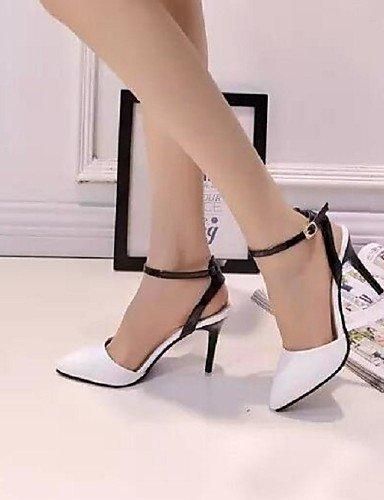 Schwarz Damen für Rosa ShangYi amp; Black Heels Spitzschuh Blau Party Sandaletten Kunstleder Kleid Festivität Damenschuhe Komfort Weiß Stöckelabsatz High n6aSg
