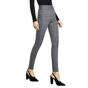 SweatyRocks Women's Casual High Waisted Ankle Plaid Pants Skinny Leggings, Grey #1, S