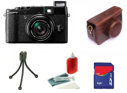 Fujifilm X10 12 MP APS-C CMOS EXR Digital Camera kit with Camson Leather Case, 4GB Card, Mini Tripod, Cleaning kit.