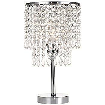 Hile Lighting Ku300085 Chrome Round Crystal Chandelier Bedroom Nightstand Table Lamp