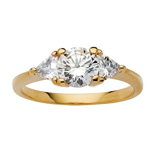 Round and Trilliant-Cut White Cubic Zirconia 14k Gold-Plated 3-Stone Engagement Ring Size 6