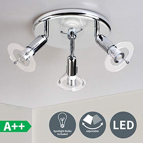 Modern 3-Light Multi-Directional Ceiling Fixture, Adjustable Round Track Lighting Kits, Spotlight Bulbs Include Flushmount Ceiling Light for Kitchen Hallway Bedroom,Polished Chrome
