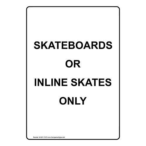 Skateboards Or Inline Skates Only Label Decal, 5x3.5 in. 4-Pack Vinyl for Recreation by ComplianceSigns