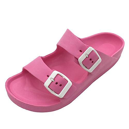 FUNKYMONKEY Women's Comfort Slides Double Buckle Adjustable EVA Flat Sandals (6 M US/Women, Fuxia)