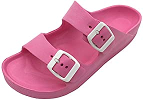 FUNKYMONKEY Women's Comfort Slides Double Buckle Adjustable EVA Flat Sandals