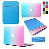 Love My Case / BUNDLE RAINBOW Hard Shell Case with matching AQUA BLUE KEYBOARD Skin and NEOPRENE Sleeve Cover for Apple MacBook Air 13 inch (13') A1369 / A1466 [Will NOT fit MacBook Pro Models]