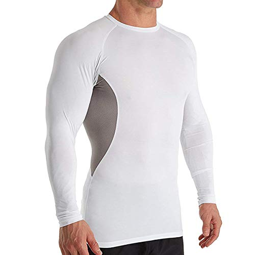 (Russell Long Sleeve Compression Shirt (CL7PNM0) S/White/Rock)