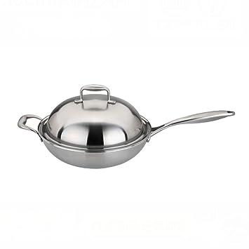Pote de cocina de cocina de inducción antiadherente wok de acero ...