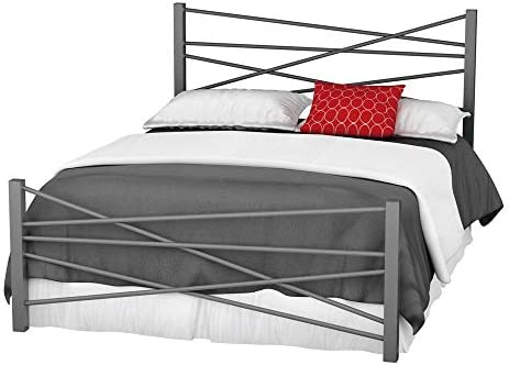 Amisco Crosston Metal Bed, Queen Size 60 , Magnetite Glossy Grey