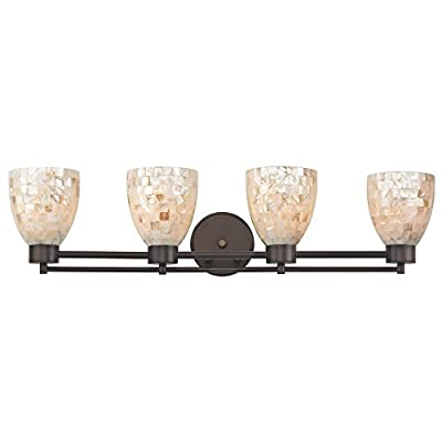 "Bathroom Wall Mounted Light with Mosaic Glass in Bronze Finish- Four Lights - DIMENSIONS: 6.88""h x 28.75""l x 6""d FINISH: Bronze PLEASE NOTE: Light bulb(s) not included with this light fixture. - bathroom-lights, bathroom-fixtures-hardware, bathroom - 41xV5Rxps2L. SS400  -"