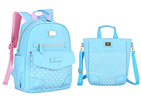 Yookeyo Girl Polka Dots and Bowknot Style Backpack Lunch Bag School Bag for Kids - Dots Personalized Lunch Box