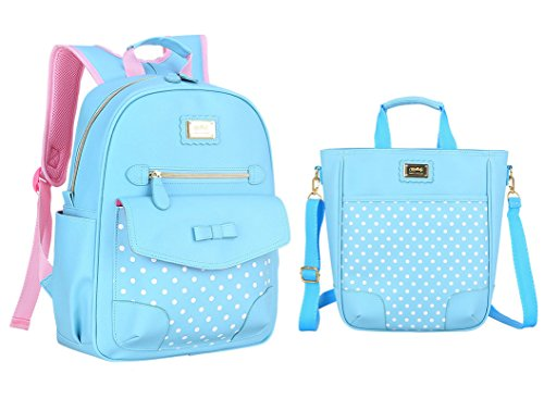 Yookeyo Girl Polka Dots and Bowknot Style Backpack School Bag for Kids Lunch Bag Kids Backpack by Yookeyo