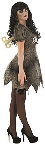 Ladies Sexy Grey Dead Rag Doll Halloween Fancy Dress Costume Outfit UK 8-22 Plus Size (UK -