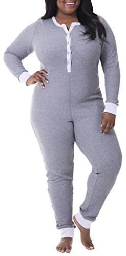 Fruit of the Loom Women's Plus Size Fit for Me Waffle Thermal Union Suit, Medium Grey Heather, 3X