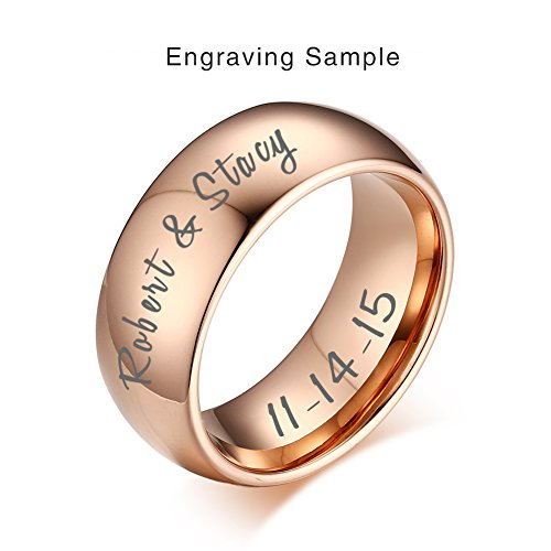 Vnox Custom Engraving Rose Gold Plated Tungsten Carbide Wedding Band Promise Engagement Ring for Men Women, Size (Engraved Gold Wedding Ring)