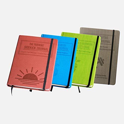 Bundle: 1x Red Morning Sidekick Journal, 1x Green Fat Loss & Nutrition Sidekick Journal, 1x Blue Meditation Sidekick Journal & 1 Gray Weightlifting Gym Buddy Journal by Habit Nest (Image #8)