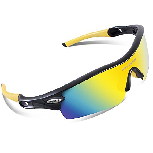 RIVBOS 805 POLARIZED Sports Sunglasses with 5 Set Interchangeable Lenses for Cycling (Black & - Interchangeable With Lenses Prescription Sunglasses