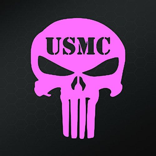 USMC Punisher Decal Sticker Vinyl Cut | Cars Trucks Vans Walls Laptop | Pink | 5 In Tall | -