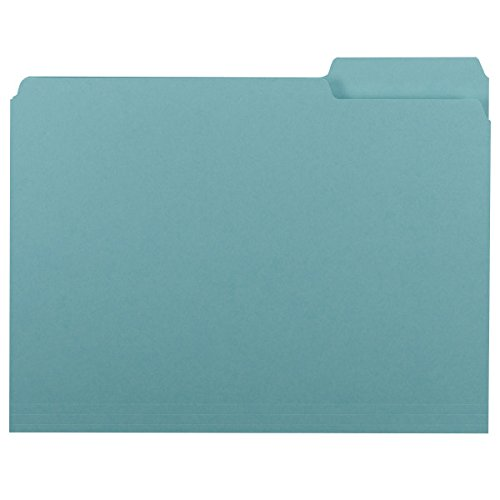Smead Interior File Folder, 1/3-Cut Tab, Letter Size, Aqua, 100 per Box (10235)