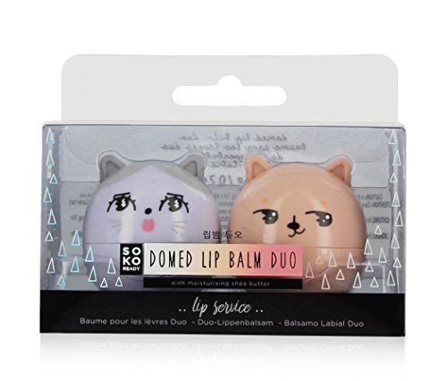 SOKO Ready Domed Lip Balm Duo, White Peach and Candy Floss