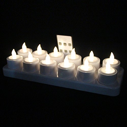 EuroFone LED Rechargeable Candle Flameless Tealight with Remote Control 12pcs/set (Warm white) (Remote Tea Led Lights Controlled)