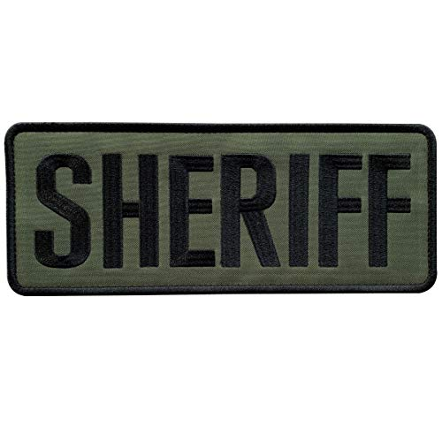 uuKen Embroidery Cloth Fabric Sheriff Patch Green 10x4 inches for Military Police Tactical Vest Jacket Uniform Plate Carrier Back Panel (Black and Green, XL 10