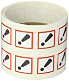 """Accuform Signs LZH607EV5 GHS Pictogram Label, EXCLAMATION MARK, 1"""" Length x 1"""" Width, Adhesive-Poly, Red/Black on White (Roll of 500)"""