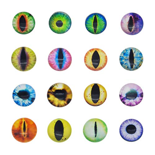 50PCS 25MM Round Glass Dragon Cat Eye Craft Cabochon Cameo for Jewelry Bezel Setting or Doll Eyes Crafts Making