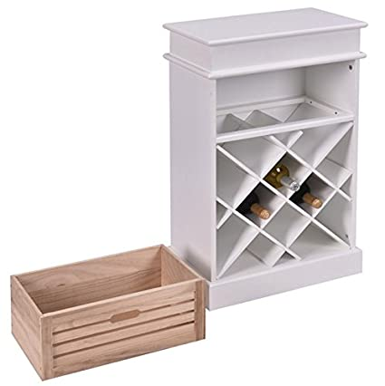 Amazon White 48 Bottles Wine Rack Cabinet With Storage Display Delectable Space Efficient Furniture Decor
