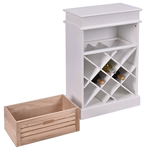 White 12 Bottles Wine Rack Cabinet With Storage Display Shelf Solid Wood Construction Free Standing Vertical Design Home Kitchen Bar Space Saving Furniture Decoration Décor Space Efficient - Use I Next Online Vouchers Can
