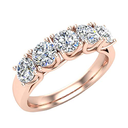 (Wedding band Five Stone Diamond Ring Round Brilliant Cut w/Trellis Setting 1.10 carat total weight 14K Rose Gold (Ring Size 5.5))