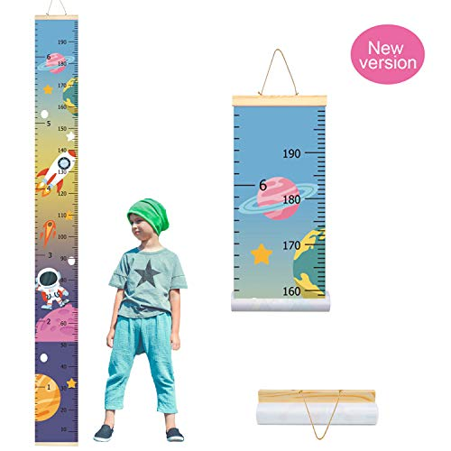 Trendypie Kids Outer Space Astronaut Growth Chart Baby Roll-up Wood Frame Canvas Fabric Removable Height Growth Chart Wall Art Hanging Ruler Wall Decor for Nursery Room Bedrooms 79