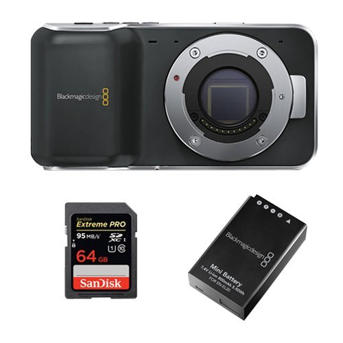 Blackmagic Pocket Cinema Camera with Micro Four Thirds Lens Mount -BUNDLE- with 64GB SDXC Memory Card Extreme Pro and Extra Blackmagic Battery by Blackmagic Design