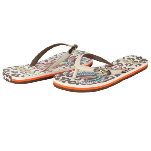 Ed Hardy Women's Jungle Flip Flop Sandal - Off White - 6 Ed Hardy Womens Sneakers