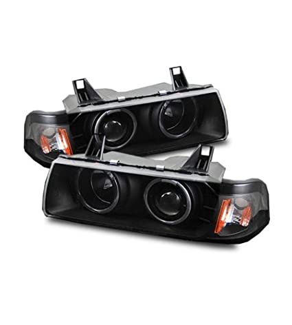 SPPC 1 Pc Projector Headlights Black G2 Assembly Set Halo For BMW 3 Series  E36 2 Door - (Pair) Driver Left and Passenger Right Side Replacement