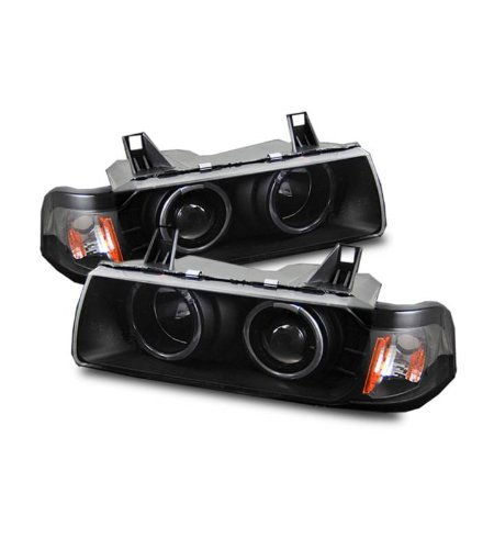 SPPC 1 Pc Projector Headlights Black G2 Assembly Set Halo For BMW 3 Series E36 2 Door - (Pair) Driver Left and Passenger Right Side Replacement Headlamp