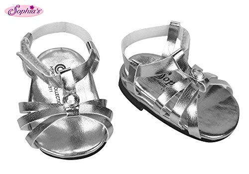 Designer Doll Shoes - Sophia's Silver Doll Sandals, Doll Shoes Fits 18 Inch American Girl Dolls, Doll Silver Jeweled Strap Sandal