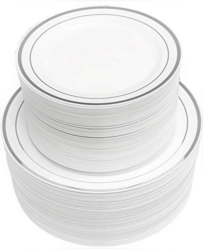 Disposable Plastic Plates - 120 Pack - 60 x 10.25 Dinner and 60 x 7.5 Salad Combo - Silver Trim Real China Design - Premium Heavy Duty - By Ayas Cutlery Kingdom