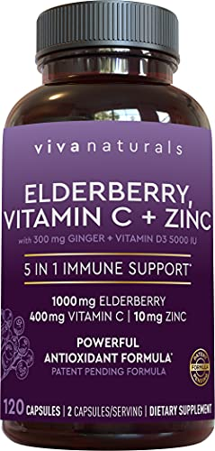 Viva Naturals Elderberry, Vitamin C, Zinc, Vitamin D 5000 IU & Ginger – Antioxidant & Immune Support Supplement, 2 Month…