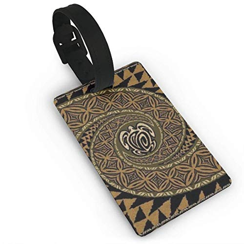 Hawaiian Tapa Honu Turtle Deluxe Luggage Tag Travel Bag Suitcase Labels Privacy Cover Tags Travel ID Label for Bag with Strap Material PVC Size 3.7