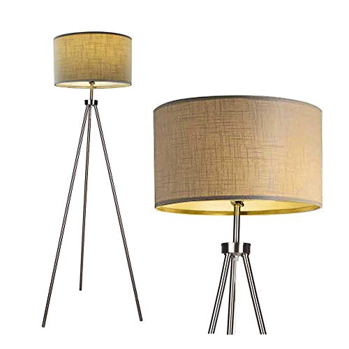 - DEEPLITE Tall Floor Light, Tripod Floor Lamp with 3 Way Dimmable Switch, Modern and Metal Standing Lamp for Living Room Office Bedroom Reading, Brushed Nickel Legs, Fabric Drum Shade
