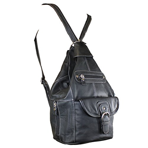 ac5ba50028e5 Women Genuine Leather Sling Purse Handbag Shoulder Bag Backpack Slouch  Organizer (Black with White Stitching) - Buy Online in Oman.