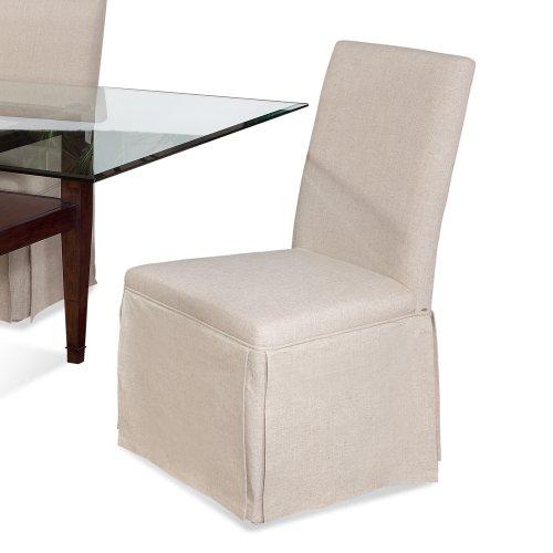 Edison Skirted Parsons Chair w Natural Linen Fabric - Set of 2 by Bassett Mirror Company