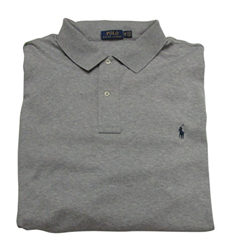 (Polo Ralph Lauren Mens Big and Tall Interlock Polo Shirt (3XB, Grey Heather))